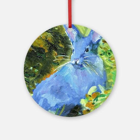 Blue Bunny Round Ornament