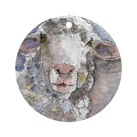 Shorn this way sheep round ornament by admin cp12420523 - Ornament tapete weiay ...