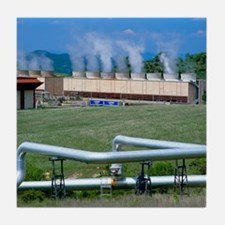 Geothermal power station, Italy Tile Coaster