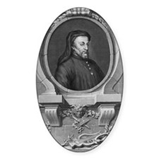 Geoffrey Chaucer, English author an Decal