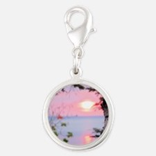 Lake Superior Sunset Silver Round Charm