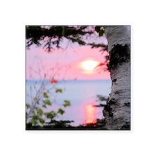 "Lake Superior Sunset Square Sticker 3"" x 3"""