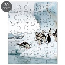 Gentoo penguins jumping into the sea Puzzle