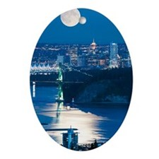 Full Moon over Vancouver Oval Ornament
