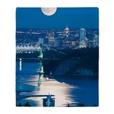 Full Moon over Vancouver Throw Blanket