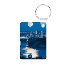 Full Moon over Vancouver Keychains