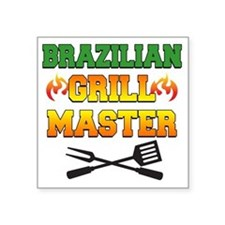 """Brazilian Grill Master Apro Square Sticker 3"""" x 3"""""""