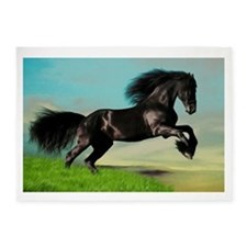 Black Horse Rearing 5'x7'Area Rug