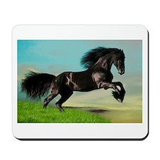 Black Horse Rearing Mousepad