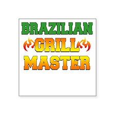 """Brazilian Grill Master Dark Square Sticker 3"""" x 3"""""""