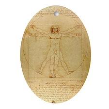 Vitruvian Man Oval Ornament