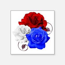 "Patriotic Flowers Square Sticker 3"" x 3"""