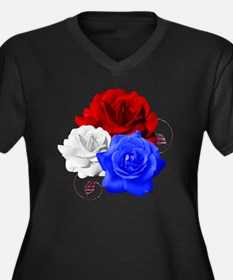 Patriotic Fl Women's Plus Size Dark V-Neck T-Shirt