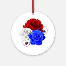 Patriotic Flowers Round Ornament