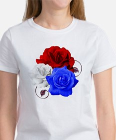 Patriotic Flowers Women's T-Shirt