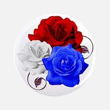 """Patriotic Flowers 3.5"""" Button"""