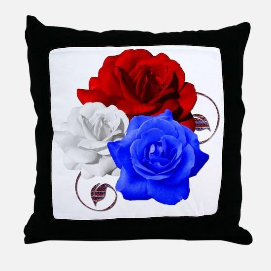 Patriotic Flowers Throw Pillow