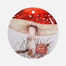 Fly agaric mushrooms Round Ornament