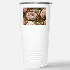 Flu virus particles on red bloo Travel Mug