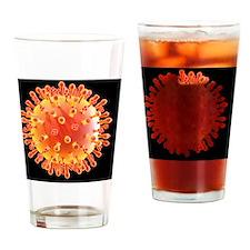 Flu virus particle, artwork Drinking Glass