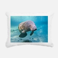 Florida manatee swimming Rectangular Canvas Pillow