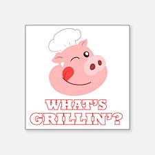 """Whats Grillin? Square Sticker 3"""" x 3"""""""