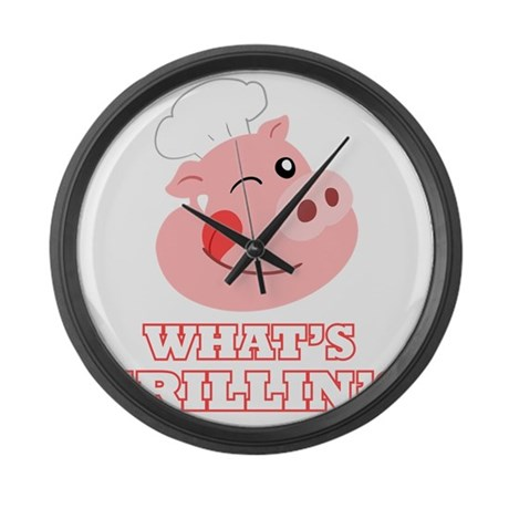 Whats Grillin? Large Wall Clock
