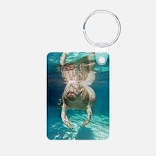 Florida manatee swimming Keychains