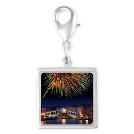 Fireworks display, Venice Silver Square Charm
