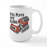 Still plays with blocks Large Mugs (15 oz)