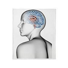 Female human head with brain Throw Blanket