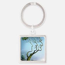 Family tree, conceptual artwork Square Keychain