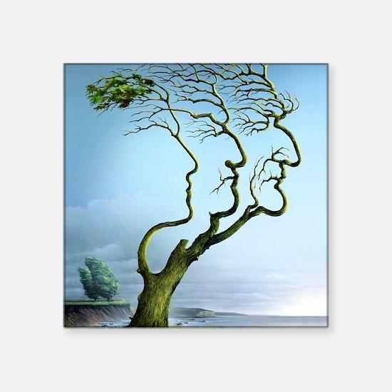 """Family tree, conceptual art Square Sticker 3"""" x 3"""""""