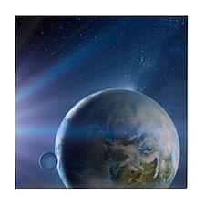 Extrasolar Earth-like planet, artwork Tile Coaster