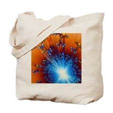 Explosion of Sarin nerve gas molecules Tote Bag