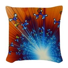 Explosion of Sarin nerve gas m Woven Throw Pillow