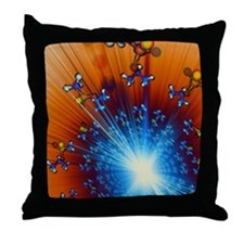 Explosion of Sarin nerve gas molecule Throw Pillow