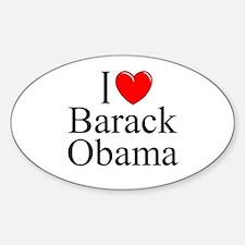 """I Love (Heart) Barack Obama"" Oval Decal"