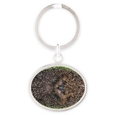 European hedgehog Oval Keychain
