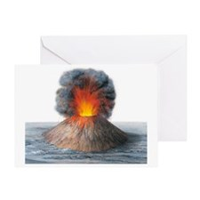 Erupting cinder cone, artwork Greeting Card
