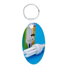 Energy-saving light bulb Aluminum Oval Keychain