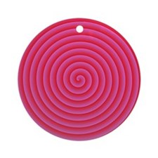 Pink Red Spiral Round Ornament