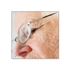 "Elderly woman wearing glass Square Sticker 3"" x 3"""