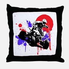Red Splatter ATV Throw Pillow