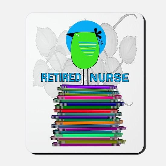 RETIRED NURSE BOOK BIRD GREEN Mousepad