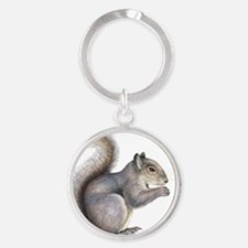 Eastern grey squirrel, artwork Round Keychain
