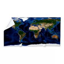 Earth, topographic and bathymetric map Beach Towel
