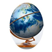 Earth globe, artwork Oval Ornament