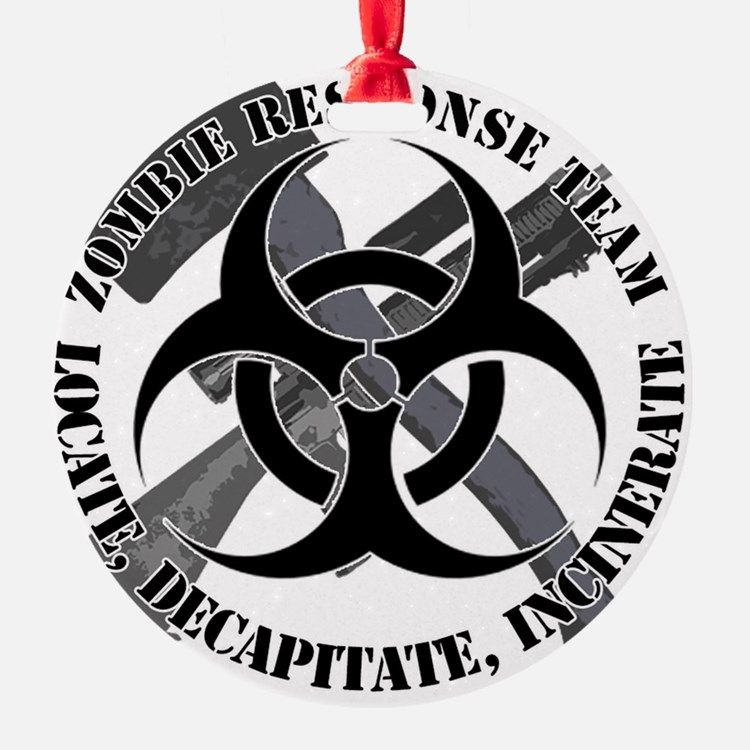 Zombie Response Team White Border Ornament