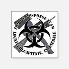 "Zombie Response Team White  Square Sticker 3"" x 3"""